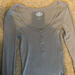 Juicy Couture Tops - L Juicy Couture Grey Rhinestone Shirt